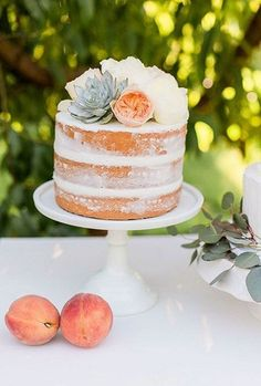 34 Yummy Semi Naked Wedding Cakes | HappyWedd.com #PinoftheDay #yummy #semi #naked #SemiNaked #wedding #cakes