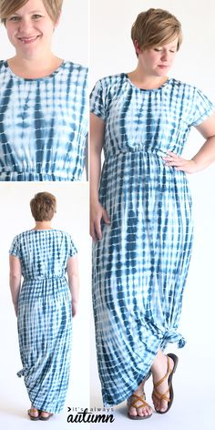 1000c66d6eb how to sew an easy cap sleeve maxi dress using a free tee shirt pattern.