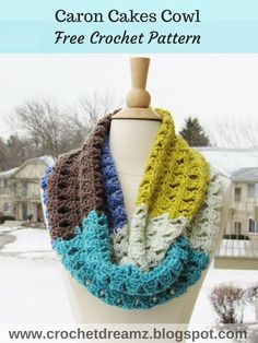 Crochet Infinity Scarf Pattern using Caron Cakes Yarn