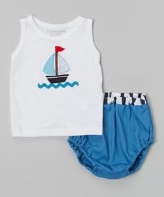 Look at this #zulilyfind! White Boat Tank & Blue Diaper Cover - Infant by Victoria Kids #zulilyfinds