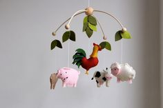 nursery mobile farm animal mobile cow goat sheep by TinyLuck
