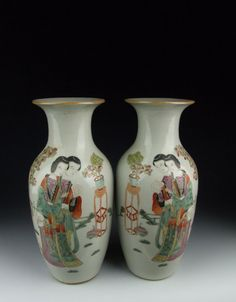 Pair of Republic Period Famille Rose Porcelain Vases Beauty