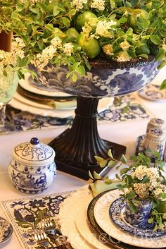 Blue and green table decoration