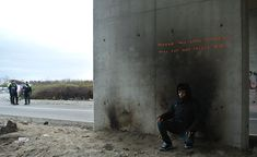 """""""The Son of a Migrant from Syria Based on an update to his website this morning it appears Banksy visited the Jungle Refugee Camp in Calais, France, one of the largest refugee camps in western Europe. The artist left behind four new artworks, most notably a piece featuring Steve Jobs carrying"""