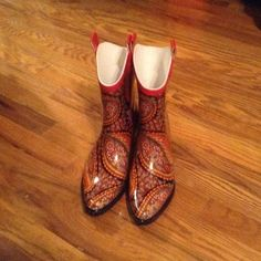 LAST PAIR Western style Rain boots April showers bring May flowers.  Be prepared with you western style rain boots they are so fabulous you'll be waiting for a rainy day.  Brand new never worn.  Pice is firm unless bundled.  NO TRADES LAST PAIR Shoes Winter & Rain Boots