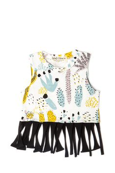 'Cactus' Fringed Tank Top in Dusty Pink, Yellow Ochre, Blue Mint and Black on White