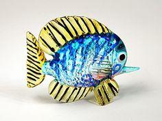 Handicraft MINIATURE HAND BLOWN GLASS Fish FIGURINE Sculpture Collection