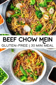 This recipe for beef chow mein is quick and easy and perfect for weeknight dinners. Its gluten free and a healthy alternative to Chinese takeout. Gluten Free Recipes For Lunch, Dinner Recipes Easy Quick, Quick Healthy Meals, Healthy Dinner Recipes, Gluten Free Dinners Easy, Quick Meals For Dinner, Gluten Free Chinese Food, Healthy Chinese Food, Beef Chow Mein