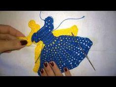 Vestidinho de crochê para aplique em pano de prato/pano de copa. - YouTube Love Crochet, Crochet Baby, Knit Crochet, Crochet Crafts, Crochet Dolls, Doll Patterns, Crochet Patterns, Silk Ribbon Embroidery, Crochet Videos