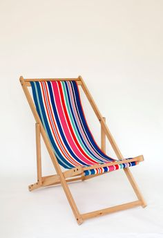 removable outdoor fabric on sling style deck chair Deck Chairs, Outdoor Chairs, Outdoor Furniture, Outdoor Decor, Miniature Chair, Terrace Garden, Rooftop Terrace, Outdoor Fabric, Outdoor Spaces