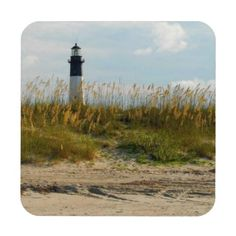 View of Lighthouse From the Beach Drink Coaster