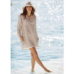 Chambray Linen Tunic - Breezy and beautiful tunic is your comfortable choice for summer days or nights. Wear to the beach, pool or cabana during the day, or pair with jeans and sandals for a casual dinner out. Available in your choice of color: sand or river blue.