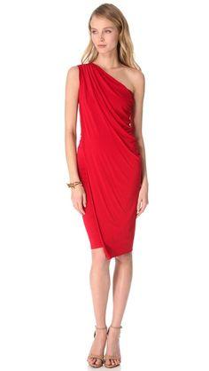 Donna Karan New York One Shoulder Cocktail Dress in Lipstick Red From ShopBop.com