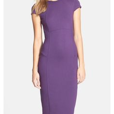 Felicity and coco {purple} midi dress Purple. Great pop with a statement necklace like shown above. Back zipper all the way down with doubled ended zipper for just the right amount of leg. Flattering, true to size and sexy. I wore this one time only and is in NEW condition and might as well be NWOT. Price firm unless bundled ‼️ NO TRADES OR PP ‼️ offers only accepted through offer feature. This is Nordstrom brand. Nordstrom Dresses Midi