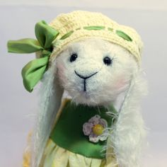 Bunny Teddy's friend a toy toy for the girl gift handmade toy collectible toy toy in clothes favorite toy white hare Teddy