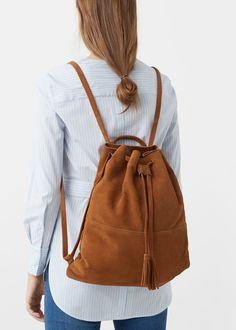 Leather backpack | MANGO