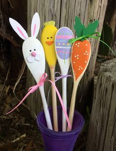 Wooden Easter Kitchen Spoons, Carrot, Bunny, Egg, Chick, Hand Painted Decorations or Hostess Gift, Spring Kitchen Decor, Kitchen Decor
