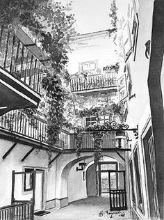 Old Viennese Courtyard by Johannes Margreiter Framed Prints, Canvas Prints, Vienna, Concrete, Black And White, Abstract, Artwork, Shop, Poster