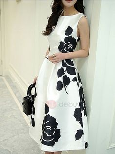 Ericdress Flower Print Pleated A-Line Casual Dress 3 Royal Dresses, Modest Dresses, Cute Dresses, Beautiful Dresses, Casual Dresses, Short Dresses, Party Dresses, Look Fashion, Skirt Fashion