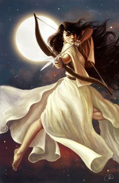 Goddess of the Moon by Christy Tortland. Personal take on Artemis, Goddess of the Moon and the Hunt.