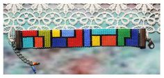 Colorful Beaded Bracelet - Multicolor Bracelet - Cuff Bracelet - Beaded Jewelry - Beaded Cuff Bracelet - Statement Bracelet - Gift For Her - mari Beaded Cuff Bracelet, Bead Loom Bracelets, Beaded Bracelet Patterns, Bead Loom Patterns, Beaded Brooch, Cuff Bracelets, Friendship Bracelets Designs, Bracelet Designs, Seed Bead Jewelry