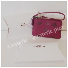 """New Coach shooting stars wristlet with gift box 100% authentic. Coated canvas with sparkling shooting star print and leather trim. Zip top closure and fabric. Strap with clip to form wrist strap or attach to inside of bag. Measures 6"""" x 4"""". Brand new with tags. Comes from a pet and smoke free home. Coach gift box included. Coach Bags Clutches & Wristlets"""