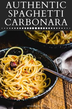 Authentic Spaghetti Carbonara is such a heart warming comfort food dish. Super easy to make with only 4 ingredients. This easy pasta recipe will surely become a family favorite. Pasta Dinner Recipes, Easy Pasta Recipes, Cooking Recipes, Recipe Pasta, Noodle Recipes, Simple Recipes, Pasta Dishes, Food Dishes, Dishes Recipes