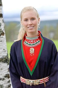 Finnish Sami girl from Lapland in traditional dress.