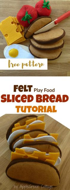 How to sew cute felt slices of French loaf bread. Easy to make, really fast - and totally adorable! And a wonderful DIY present for a child!