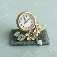 Brooke Tucker Pastel Rose Floral Desk Clock - Shabby Cottage Dollhouse Miniature