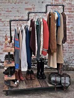 Industrial hangers coat rack clothing industry iron heavy duty casters do the old retro loft shelving racks