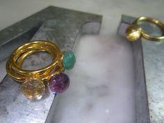 Bandringe - Ring Club Amazonit Citrin Amethyst Unikat Gold - ein Designerstück…