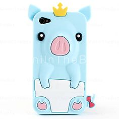 US$ 3.79 - Cute Pig Style Protective Silicone Case for iPhone 4 and 4S (Assorted Colors), Free Shipping On All Gadgets!