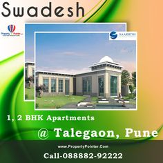 The Swadesh Pune is noted among the best projects due to its competitive prices and advantageous location. The Swadesh Talegaon Pune is a project undertaken by Saarrthi group who are noted for their high quality in affordable prices. Swadesh Pune offers luxurious 1 and 2 BHK Flats in the carpet area of the flats varies in between 452 sq ft to 841 sq ft.
