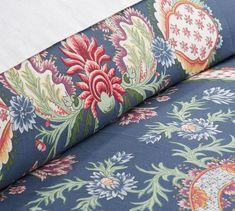 Pottery Barn Blanca Duvet Cover Blue Ivory King 2 King Shams Floral Reversible