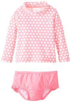 Amazon.com: Carter's Bbay-Girls Newborn Girl 2Pack Polka Dot Rash Guard Set: Clothing