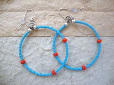 Hoop Earrings Blue and Orange Summer & by KidsAtHeartBeadShop