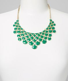 Take a look at this Dark Green Drop Bib Necklace by PANNEE JEWELRY on #zulily today!
