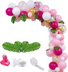 Amazon.com : adult balloon garland String Balloons, Gold Confetti Balloons, Pink Balloons, Balloon Arch, Balloon Garland, Latex Balloons, Birthday Balloons, Water Birthday, Birthday Garland