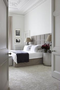 """For anything but a beach house — where wood floors are fine — you should have wall-to-wall carpeting in the bedroom,"" says Harry Heissmann of Albert Hadley Inc. This London bedroom showcases how luxe the look can be."