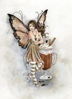 Hot Chocolate Fairy by JannaFairyArt on DeviantArt * Fairy Myth Mythical Mystical Legend Elf Faerie Fae Wings Fantasy Elves Faries Sprite Nymph Pixie Faeries Hadas Enchantment Forest Whimsical Whimsy Mischievous Fairy Dust, Fairy Land, Fairy Tales, Fantasy Creatures, Mythical Creatures, Woodland Creatures, Amy Brown Fairies, Dark Fairies, Kobold