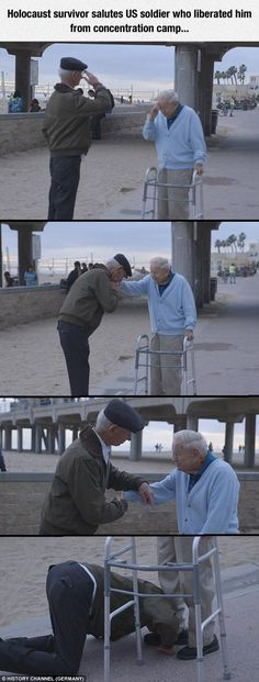 Funny lol -- Holocaust survivor salutes US soldier who liberated him from concentration camp Daily Funny jokes Sweet Stories, Cute Stories, Soldado Universal, Human Kindness, Touching Stories, Holocaust Survivors, Gives Me Hope, Real Hero, Gi Joe