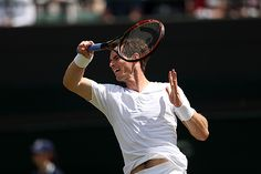 Andy Murray hits a forehand on No.1 Court