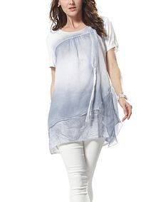 Simply Couture Blue & White Ombré Layered Scoop Neck Tunic by Simply Couture #zulily #zulilyfinds