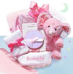 Pink Minky Dots Newborn Gift Basket (#BBC12)