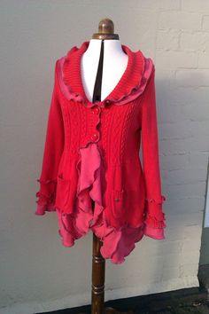 Upcycled sweater clothing.