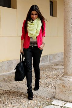 spring #outfit idea, hot pink blazer, yellow scarf, stripes