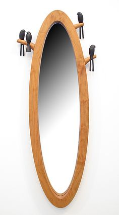 Birdie Mirror: Sylvie Rosenthal: Wood Mirror - Artful Home Small Furniture, Home Decor Furniture, Wood Furniture, Small Sideboard, Dressing Mirror, Wood Bird, Wood Mirror, Raw Wood, Decoration