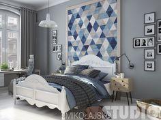 Aranżacja sypialni w szarości i błękicie