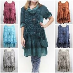 New Ladies Layered Lagenlook Italian Crochet & Lace Panels 3 Piece Tunic Top
